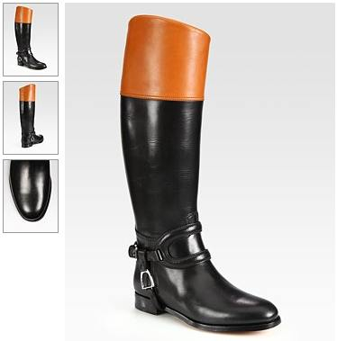 Ralph Lauren Collection Sabella Two-Tone Leather Riding Boots