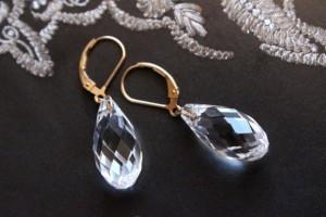 Swarovski CrystalFaceted Briolette and 14K Gold Fill Dangle Earrings