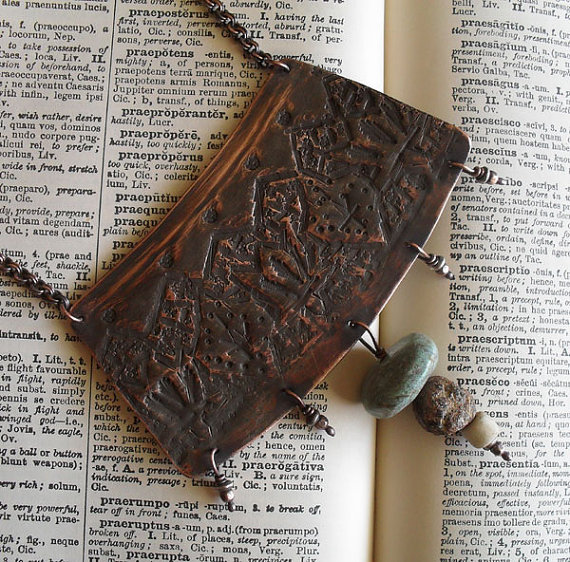 Hand Crafted Copper Jewelry: Giveaway!. One-of-a-kind copper necklace crafted entirely of salvaged objects, by Lisa Flanders