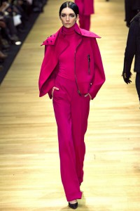 All-black is the simplest way to capitalize on the monochromatic trend this fall, but you can also try something a little more daring like this ensemble from Guy Laroche in raspberry.