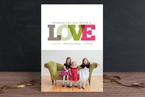 MINTED.com Joy peace love holiday card
