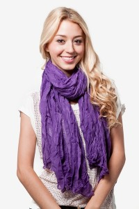 A vast selection of budget-friendly scarves is available at Scarves.com including the Morgan Scarf, shown here in purple.