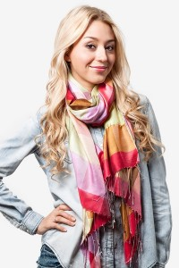 The Picadilly Scarf from Scaves.com is available in three gorgeous color combinations including vibrant orange, shown.
