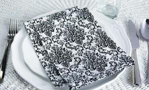 JESSIE STEELE Black and white damask napkins 2014