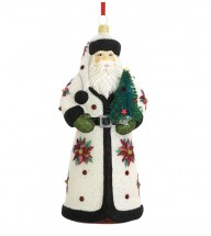 Poinsettia Santa ornament, by Reed & Barton