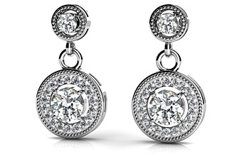 ANJOLEE round colored stone drop earrings