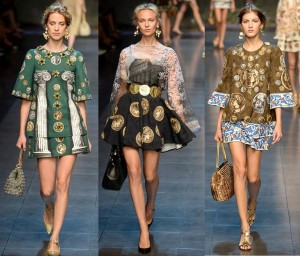 "At the Dolce & Gabbana Spring 2014 Runway Show, ""COINS"" was the watchword."