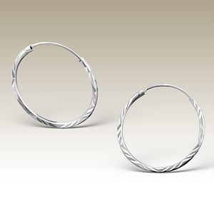 Silver Hoop Earrings, Elf 925