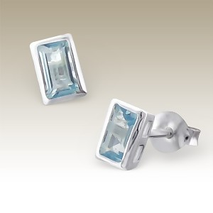 Silver Rectangle earrings with blue topaz, Elf 925