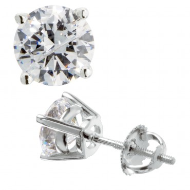 Diamond Nexxus, Round Cut Stud Earrings, screw back