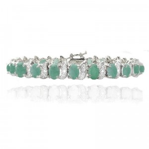 SILVER SPECK. COM Sterling Silver 11.3ct Emerald & Diamond Accent S and Oval Link Bracelet