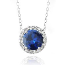 SILVERSPECK.COM Sterling Silver 2.25ct Created Blue Sapphire & CZ Round Slide Necklace