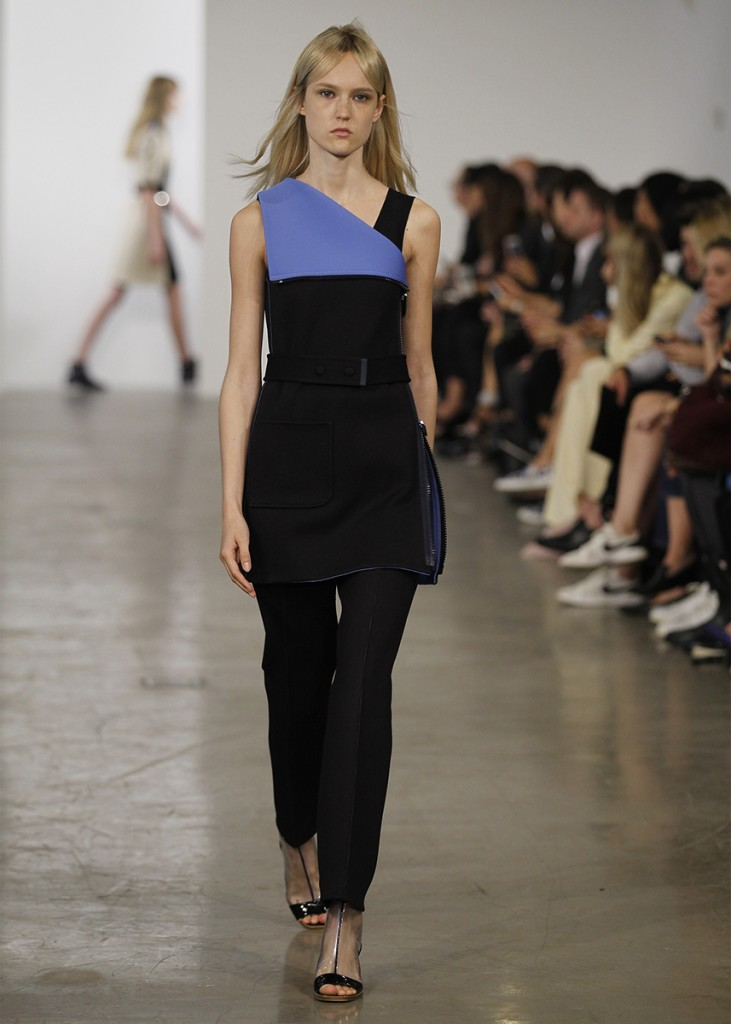 CALVIN KLEIN, Black and Cobalt pants, Spring 2014 RTW