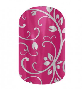 Jamberry Nails, Silver Floral on Magenta