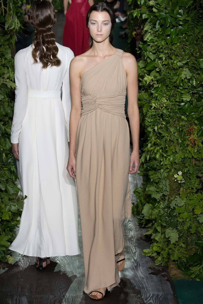 Valentino, Fall RTW beige 1-shoulder gown