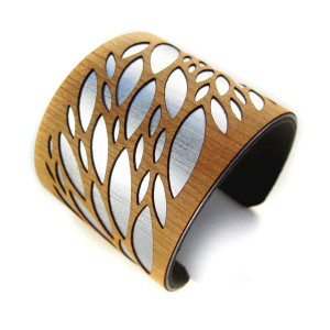 Joyo laser wood cuff bracelet, Leaves, Retail $65