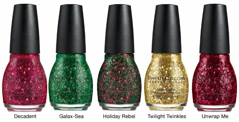 SinfulColors, decked with Glitter Flakes, Holiday nailpolish 2014