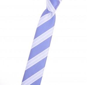 Tiecoon.com, Reginmental uniform narrow tie with azure blue and honeydew stripes