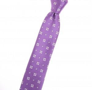 Tiecoon.com, Solid purple narrow tie with arctic snow repeating geometric pattern.