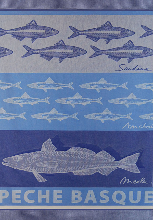 French Fixe Jean Vier French Tea Towel of Fish