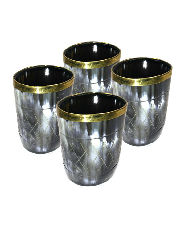 Set of 4 Small Handmade Drinking Horn Cups retail for $39.92 at Ale Horns.