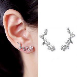 Everu floral ear cuff earrings, CZs set in silver plate, only $21!