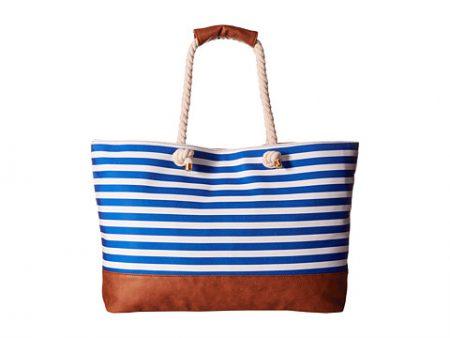 Striped beach tote