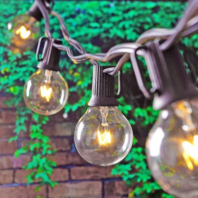 The perfect outdoor lighting! French cafe inspired globe lights are vintage chic
