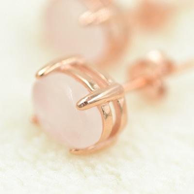 Rose quartz stud earrings by espere