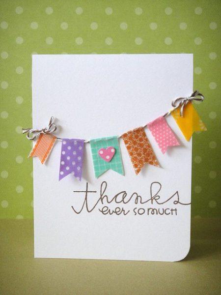 Washi tape thank you card