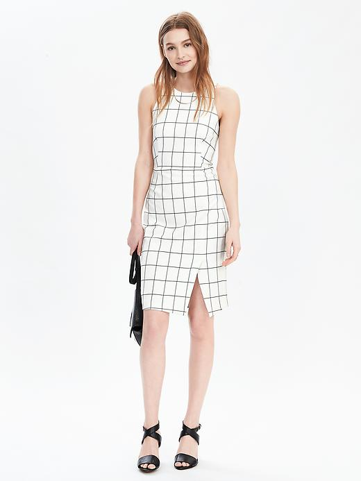 From Banana Republic, the Windowpane Sleeveless Sheath Dress