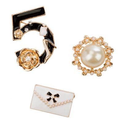 Brooch clusters are Chanel inspired and perfect for fall