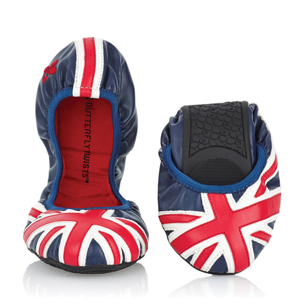 Foldable Union Jack ballet flats from Butterfly Twists