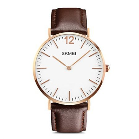 Rose gold men's watch is sleek, simple and stylish. And, it's just $14.99 on Amazon Prime!