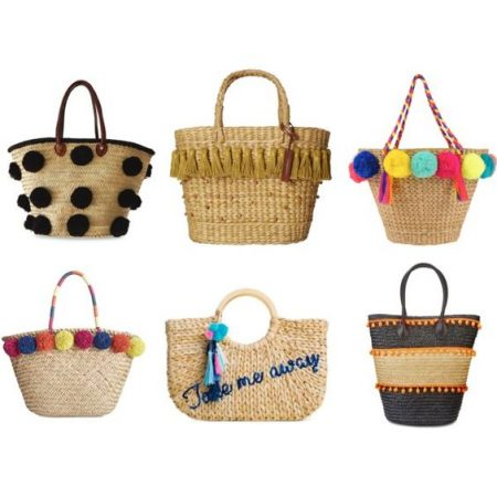 Straw beach totes with pom pom and tassel details, summer style