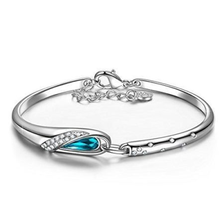 Glass Slipper Bangle Bracelet is FairyTale inspired and set with sparkling blue and clear Swarovski crystals. Magical!