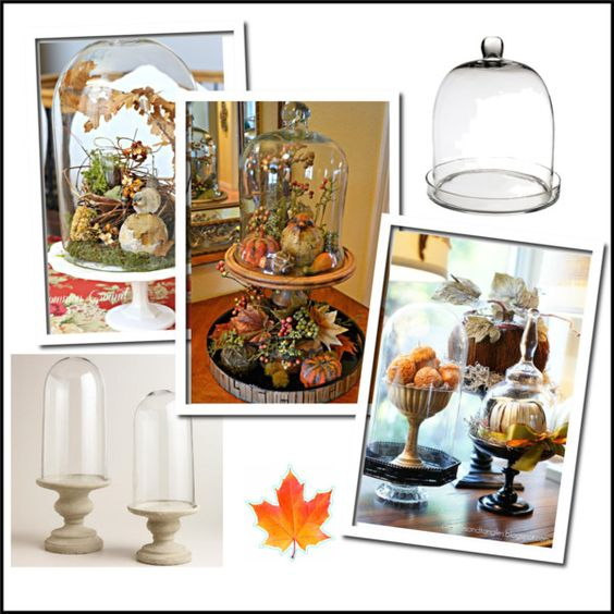 Glass cloches add Old World charm to holiday decor