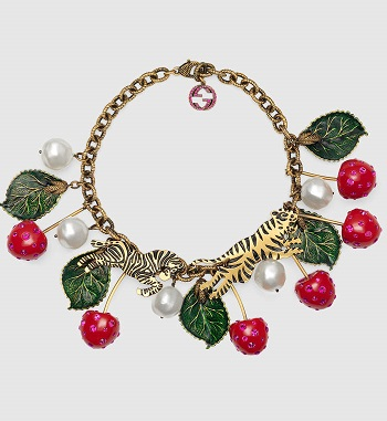 Fruit jewelry for spring. Gucci cherry necklace, small