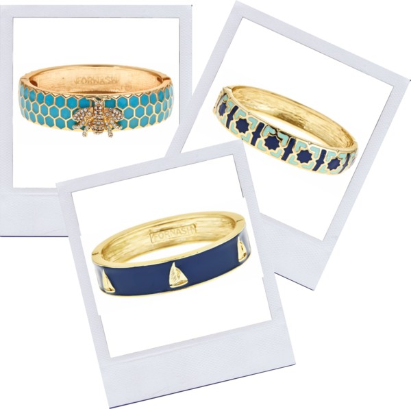 Enameled bracelets by Fornash are a colorful way to welcome spring