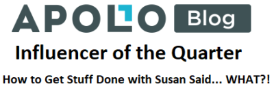 Apollo Box Influencer of the Quarter, 2018, Susan McNeill