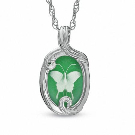 Green Chalcedony Butterfly Cameo Pendant in Sterling Silver from Zales