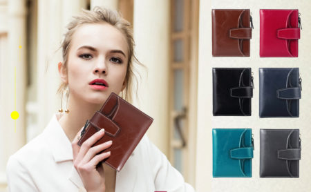 RFID blocking women's wallet is also available in a rainbow of stylish colors from warm brown, to blue, red, green or gray. Retail: $14.99. To see other leather goods, such as wallets, coin purses, and handbags, visit FunTor.