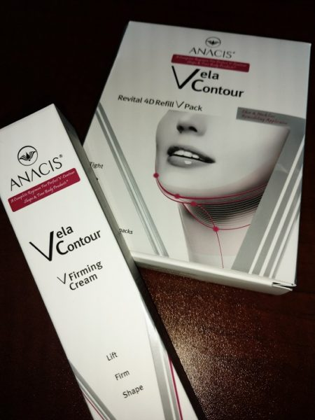 the Vela Contour product line from Anacis, which helps increase firmness and elasticity of the lower jaw, chin and neck.